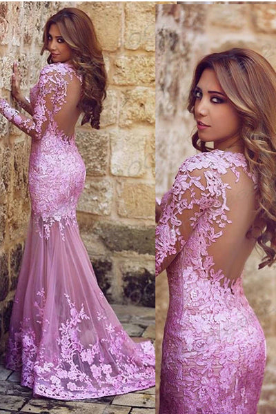 Sexy See Through Long Sleeves Hot Pink Lace Mermaid Prom Dresses Evening Party Dress LD1108