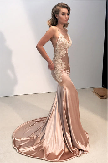 Fashion Spaghetti Straps Backless Mermaid Long V Neck Prom Dresses Evening Party Dress LD1109