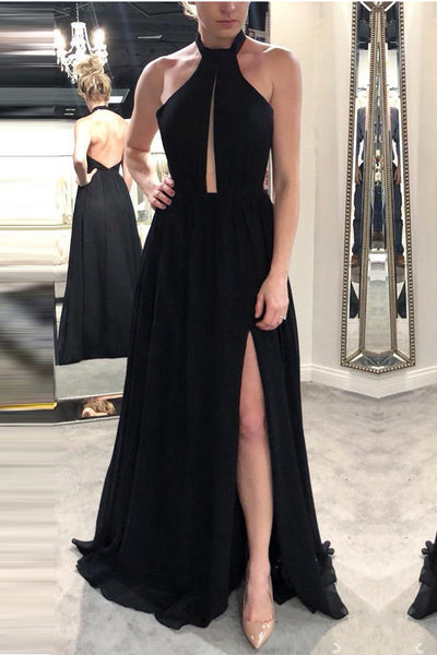 A Line Black Chiffon Open Back Split Elegant Long Prom Dresses Evening Formal Dress LD1110