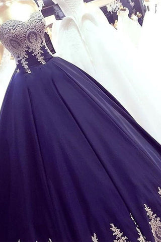 Sweetheart Ivory Lace Appliques Dark Blue Ball Gown Prom Dresses Evening Party Dress LD1111