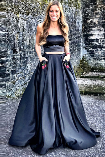 Chic Navy Blue Satin Strapless 2 Pieces Prom Dresses Evening Gown Party Dress With Pocket LD1113