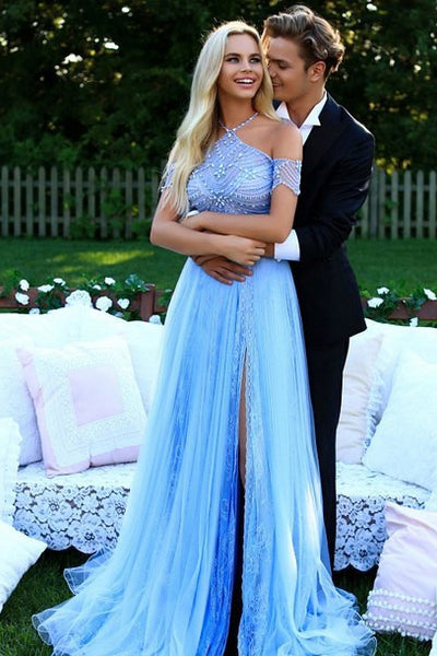 New Arrival Halter Empire Waist Drop Sleeves Slit Lace Prom Dresses Evening Party Dress LD1114