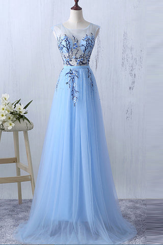 3a2ec7284a26 Light Blue Appliques Real Photo See Through Prom Dresses Formal Dress –  Laurafashionshop