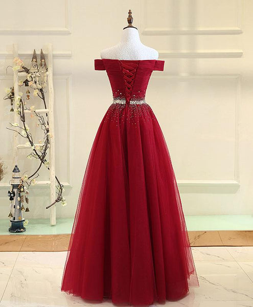 A Line Off the Shoulder Burgundy Tulle Beaded Prom Dresses Evening Formal Dress LD1116
