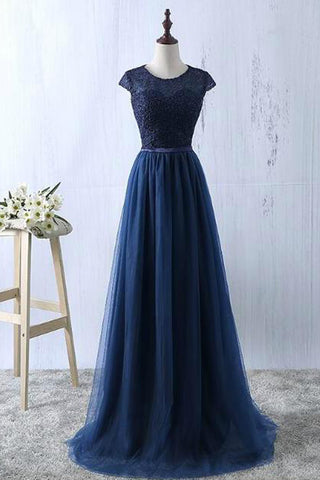 Navy Blue Lace Tulle Prom Dresses A Line Cap Sleeves Floor Length Evening Formal Dress LD1117