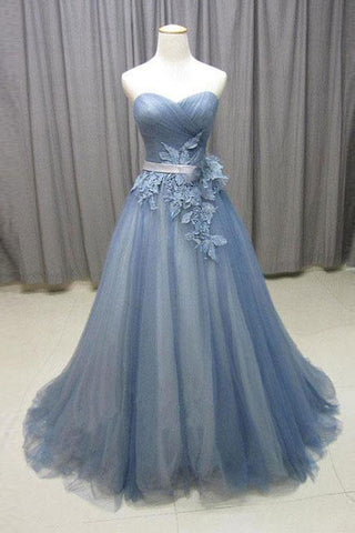 New Real Picture A Line Dusty Blue Tulle Appliques Prom Dresses Evening Formal Dress LD1118