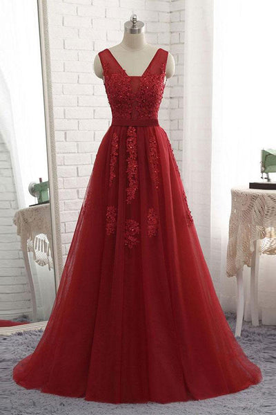 Burgundy Lace Appliques Real Photo Off the Shoulder V Neck Prom Dresses Formal Dress LD1119