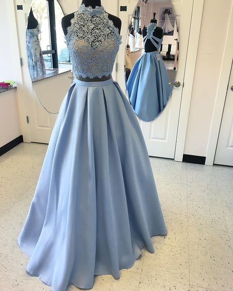 Light Blue Lace Party Dresses High Neck Backless Prom Dress Evening Gowns LD111