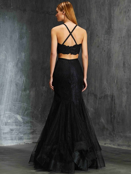 Sexy Black Lace Open Back Mermaid 2 Pieces Long Prom Dresses Evening Formal Dress LD1120