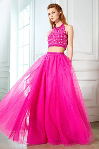 Fashion Two Pieces Hot Pink Tulle Beaded Backless Prom Dress Evening Formal Dresses LD1121