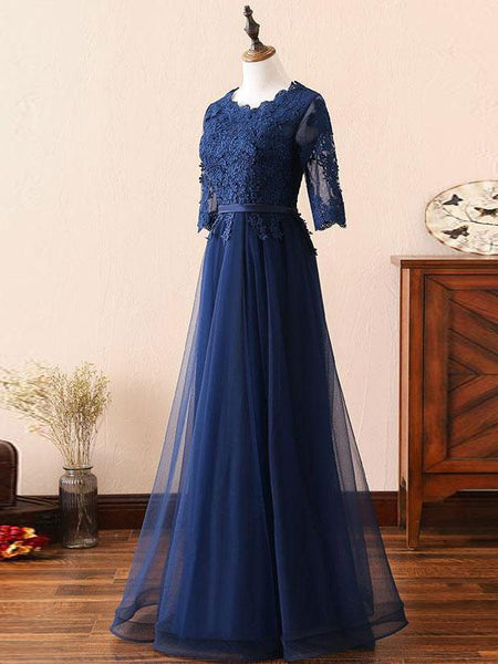 A Line 3/4 Long Sleeves Navy Blue Lace Real Picture Prom Dresses Evening Formal Dress LD1127