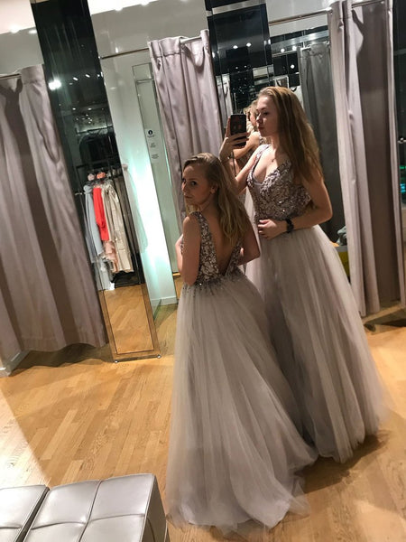 V Neck Off the Shoulder Silver Tulle Open Back Beaded Prom Dress Formal Dresses LD1128