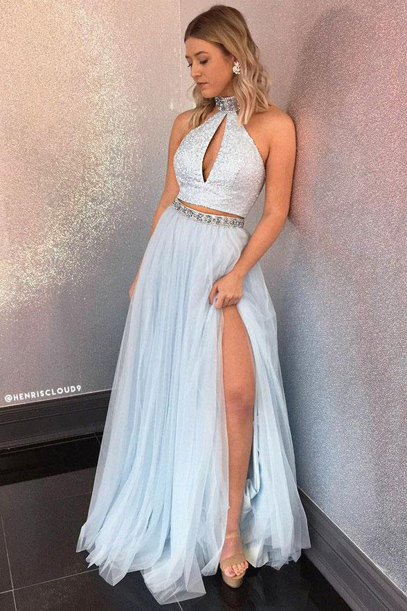 Light Blue Tulle Two Pieces Halter Beaded Sequin Prom Dresses Evening Formal Dress LD1130