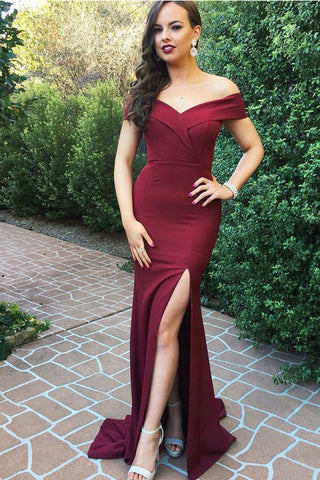 2018 New Off the Shoulder Burgundy Mermaid Split Prom Dresses Long Formal Dress LD1132