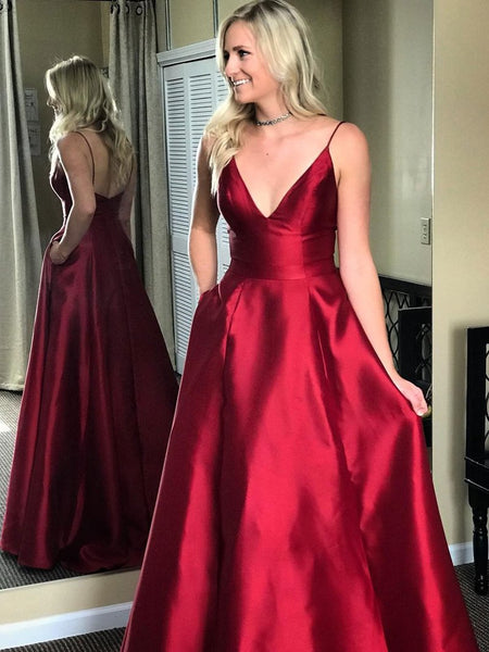 Elegant Spaghetti Straps V Neck Prom Dresses Dark Red Formal Dress With Pocket LD1133