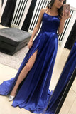 Open Back Royal Blue Prom Dresses Spaghetti Straps Slit Long Evening Formal Dress LD1135
