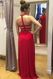 Sexy Halter Backless Sheath Red Prom Dresses Beaded Long Evening Formal Dress LD1136