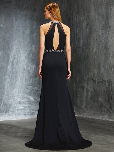 Charming Halter Black Chiffon Prom Dresses Backless Beaded Split Evening Formal Dress LD1139
