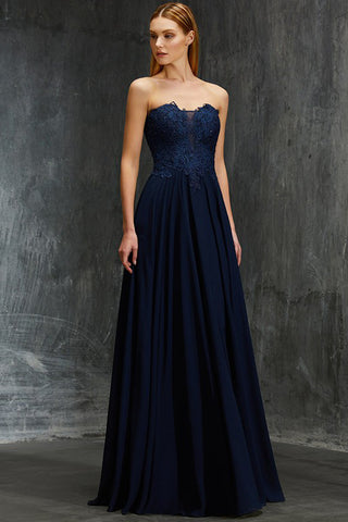Fashion Navy Blue Chiffon A Line Prom Dresses Lace Long Evening Mother's Formal Dress LD1140