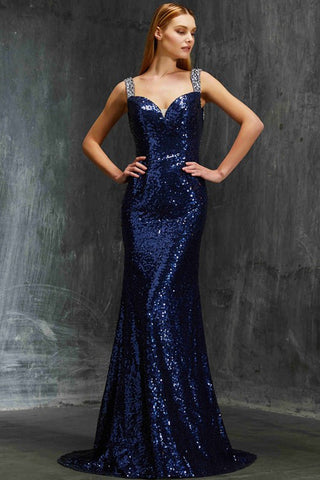 Shiny Navy Sequin Mermaid Prom Dresses Backless Evening Formal Dress