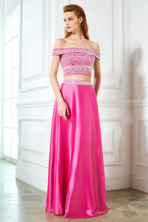 Sexy 2 Pieces Off the Shoulder Hot Pink Long Beads Prom Dresses Evening Formal Dress LD1142