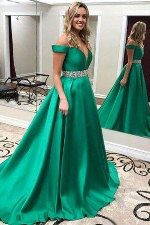 A Line Off the Shoulder V Neck Prom Dresses Evening Formal Dress With Beaded Belt LD1146
