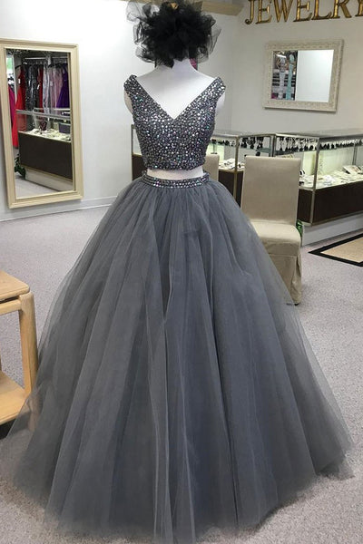 2 Pieces Ball Gown Prom Dresses Beaded Grey Tulle V Neck Long Quinceanera Dress LD1148