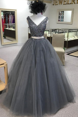 dfadf0baae 2 Pieces Ball Gown Prom Dresses Grey Tulle V Neck Quinceanera Dresses –  Laurafashionshop
