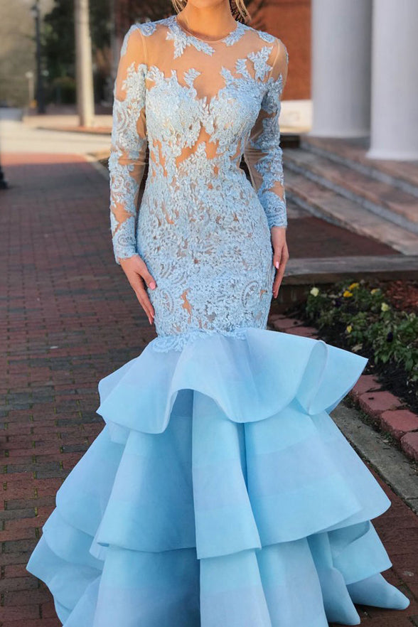 Sexy Long Sleeves Backless Light Blue Lace Mermaid Prom Dresses Gowns Formal Dress LD1150