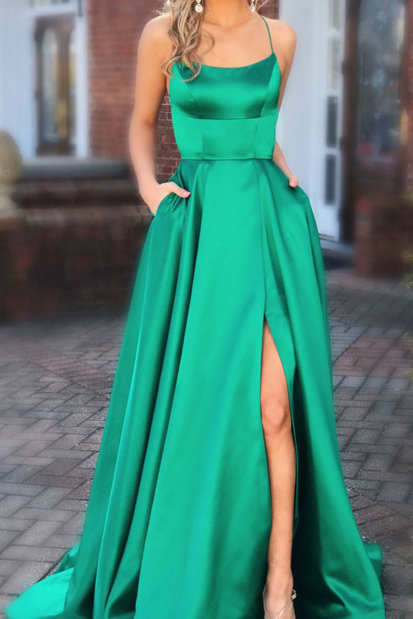 Simple Spaghetti Straps Green Open Back Split Cheap Prom Dresses Evening Formal Dress LD1151