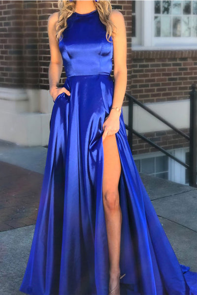 New Arrival High Neck Royal Blue Open Back Long Slit Prom Dresses Evening Formal Dress LD1152