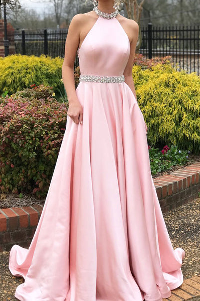 Chic Halter Pink Satin Prom Dresses A Line Backless Long Evening Formal Dress LD1153
