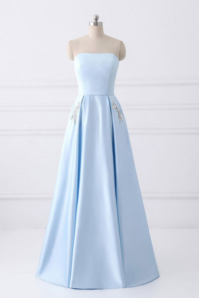 Charming Light Blue Satin Strapless Prom Dresses A Line Long Evening Gowns Bridesmaid Dress LD1156