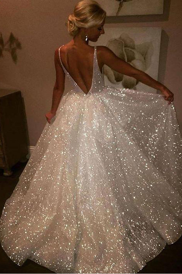 Shiny V Neck Sequin Lace Backless Ball Gown Long Cheap Prom Dresses Evening Formal Dress LD1157