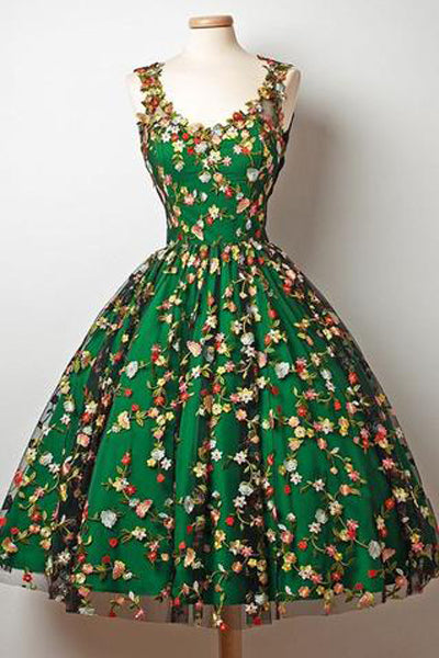 New Arrival Embroidery Lace Flowers Green Satin Homecoming Dresses Short Prom Dress Gowns LD1158