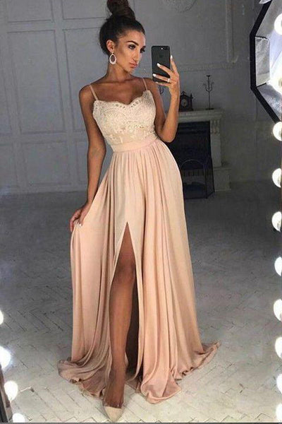 A Line Spaghetti Straps Lace Front Split Long Prom Dresses Evening Gowns Formal Dress LD1162