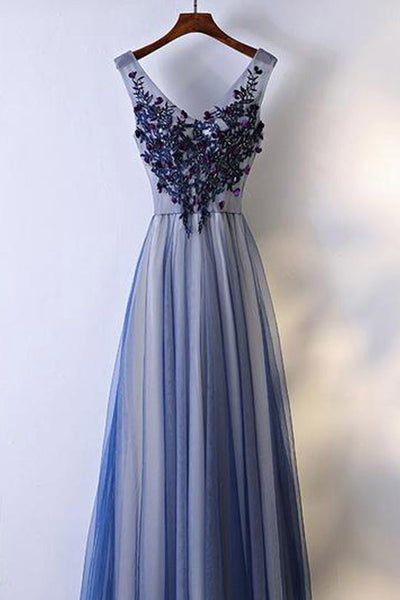 Real Picture V Neck Off the Shoulder Appliques Royal Blue Prom Dresses Formal Dress LD1165
