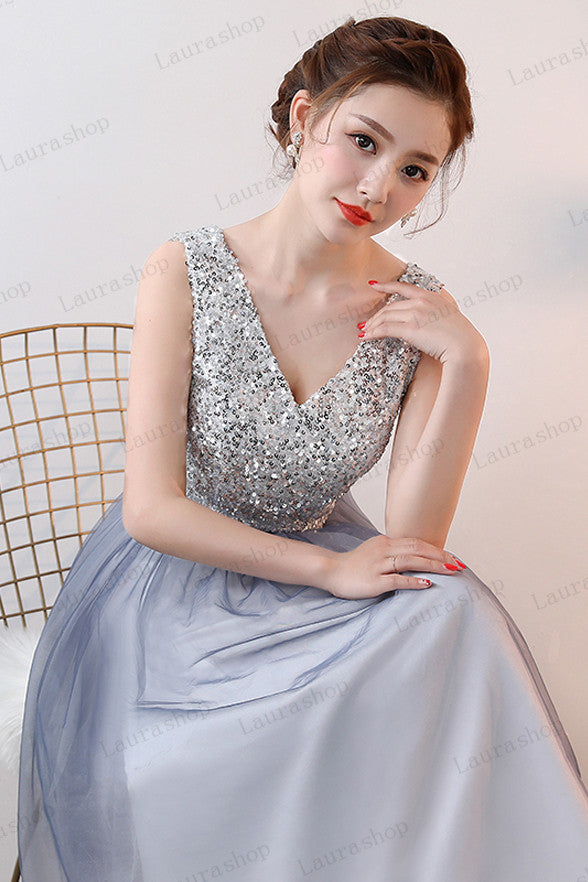 New Arrival V Neck Silver Sequin Ombre Tulle A Line Cheap Prom Dresses Formal Dress LD1169