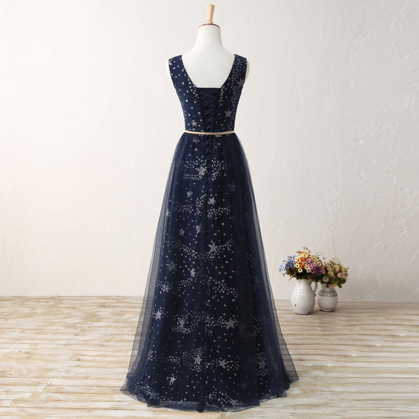A Line Real Picture Navy Blue Tulle Floor Length Cheap Prom Dresses Party Formal Dress LD1170