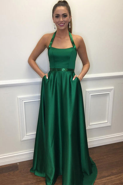 Elegant A Line Halter Green Satin Prom Dresses With Pocket Evening Gown Formal Dress LD1176