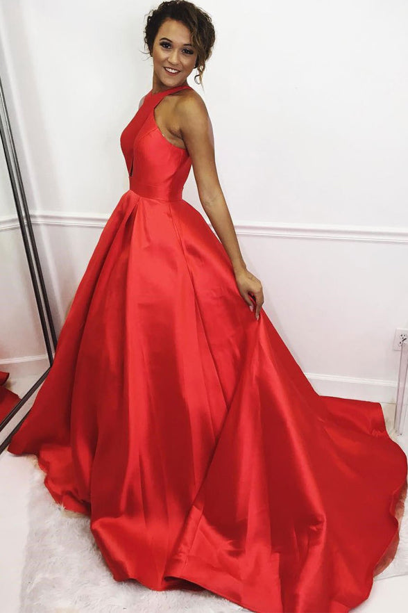 Red Satin A Line Long Plus Size Cheap Prom Dresses Evening Gown Formal Dress LD1182