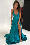 A Line V Neck Open Back Front Split Halter Elegant Prom Dresses Evening Formal Dress LD1184