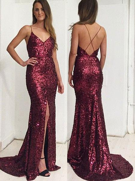 Sexy Sequin Backless Spaghetti Straps Split V Neck Mermaid Prom Dresses Evening Formal Dress LD1185