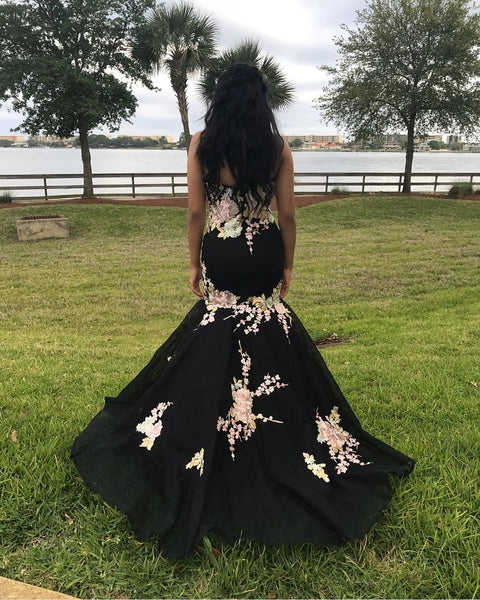 New Fashion Pink Flowers Embroidery Mermaid Black Prom Dresses Evening Gown Formal Dress LD1190
