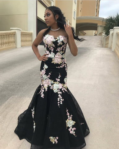 0965625ad1ac ... New Fashion Pink Flowers Embroidery Mermaid Black Prom Dresses Evening  Gown Formal Dress LD1190 ...