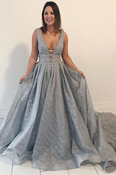 New Arrival Grey Lace Deep V Neck Plus Size Prom Dresses Evening Gown  Formal Dress LD1192 - US0 / Custom color