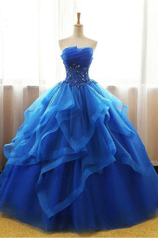 Luxurious Royal Blue Ball Gown Lace Appliques Tiered Prom Dresses Formal Quinceanera Dress LD1194