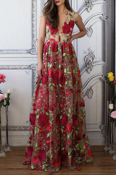 New Arrival V Neck See Through Red Flowers Long Prom Dresses Formal Party Dress LD1195