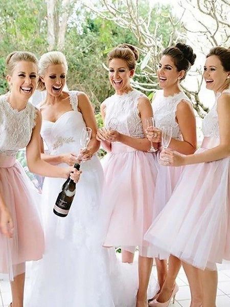Charming A Line White Lace Pink Skirt Short Bridesmaid Dresses Graduation Dress Prom Gown LD1199