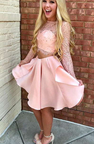 2 Pieces Long Sleeves Pink Lace Satin A Line Homecoming Dresses Short Prom Dress LD1200